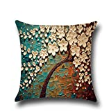 """Hoomall 3D Oil Painting Sofa Throw Pillow Case Cushion Covers Decorative Life Tree Flowers with Zipper 18""""x18"""" Blue"""