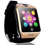 Touch Screen Smart Watch Bluetooth Wristband Pedometer Fitness Tracker Wireless Wristwatch Sleep Monitor for Android Cellphones Samsung Galaxy Note 5 4 S8 S7 S6 HTC Huawei Lg ZTE Men Women Boys (Gold)