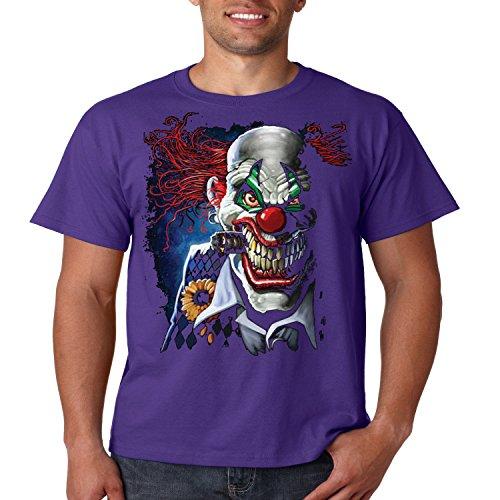 Evil Clown T Shirt Smoking Joker Liquid Blue Mens Tee S-5XL (Dark Purple, L) ()