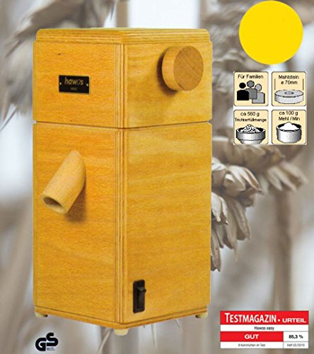 hawos Easy Stone Grain Flour Mill in Wood 110 Volts 360 Watts Grinding Rate 4 oz / min by Happy Mills (Image #2)