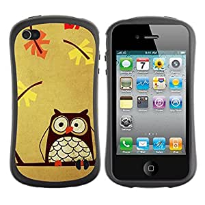 Suave TPU GEL Carcasa Funda Silicona Blando Estuche Caso de protección (para) Apple Iphone 4 / 4S / CECELL Phone case / / Teacher Smart Autumn Drawing Bird /