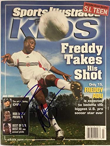 Freddy Adu Autographed Sports Illustrated July 2004 - Autographed Soccer Magazines