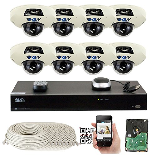 Cheap GW Security 5-Megapixel 8 Channel PoE 4K NVR Security Camera System – 8 5MP Video Audio Surveillance Weatherproof Microphone IP PoE Dome Cameras, 1.9mm 160° Super Wide Angle Lens