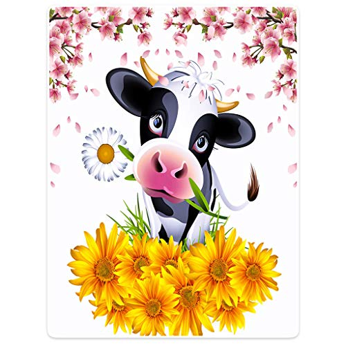 """HommomH"" 60"" x 80"" Blanket Comfort Warmth Soft Cozy Flannel Easy Care Machine Wash Cartoon Cow Holding Flowers"