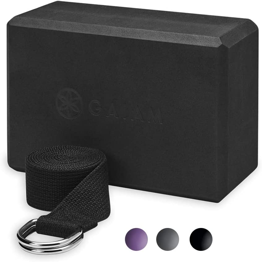 Gaiam Yoga Block + Yoga Strap Combo Set
