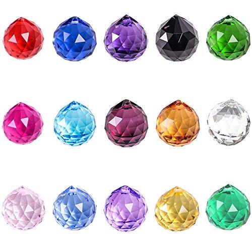 SunAngel 30mm Vintage Feng Shui Faceted Decorating Crystal Ball Prism Multi-Color (15 Color, 15pcs)
