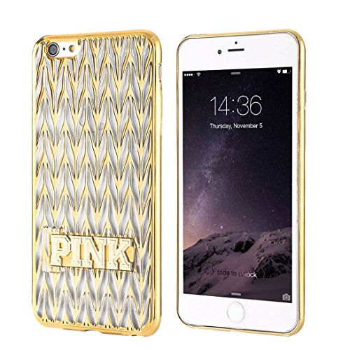 Iphone 6 case,3D Chevron pattern transparent shiny soft TPU hybrid rubber case with PINK Metal kickstand and electroplated bumper cover for Apple iPhone 6 /6s gold