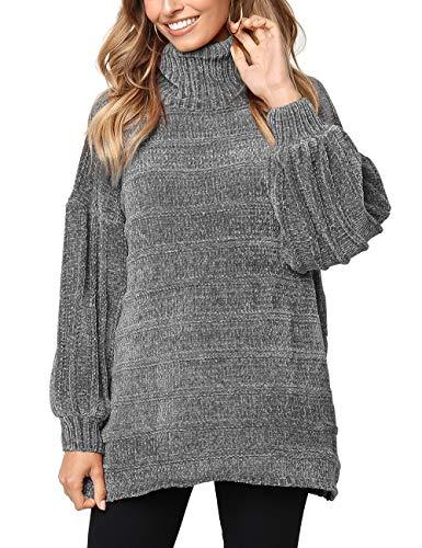 Kalin Women Casual Oversized Turtleneck Long Sleeve Velvet Sweater Pullover Jumper Gray
