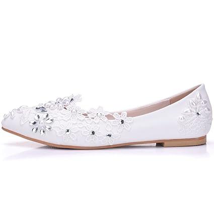 Mujer Boda Nupcial Zapatos Mocasines Blanco Pisos Cordón Diamante De Imitación Ponerse Zapatillas Resplandecer Bajo Talones