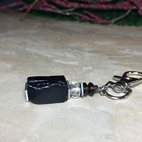 Raw Black Tourmaline Keycain, Block Negativity Keychain, Citrine, Smoky Quartz, Evil Eye Protection For Baby, Stroller Charm For Evil Eye