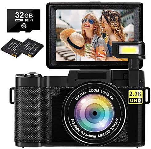 Digital Camera Vlogging Camera 2.7K 30MP Full HD Camera for YouTube 3.0 Inch 180 Degree Rotation Flip Screen with Retractable Flash Light(32GB Micro SD Card Included)
