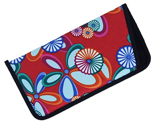 Soft Slip In Eyeglass Case For Women With A Fun Floral Design In Red - 1 Pack