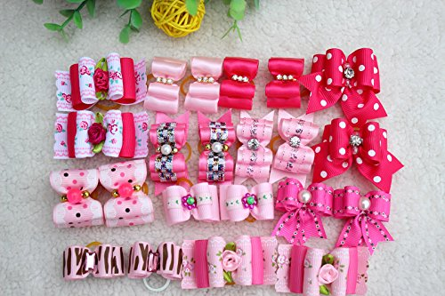 Yagopet 20pcs/pack New Pet Hair Bows for Girls Dogs Pink Ros