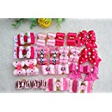20pcs/pack New Pet Hair Bows for Girls Dogs Pink Rose Red Colors Rhinestone Flower Pearls Attached Top Quality Gorgeous Dog Grooming Products