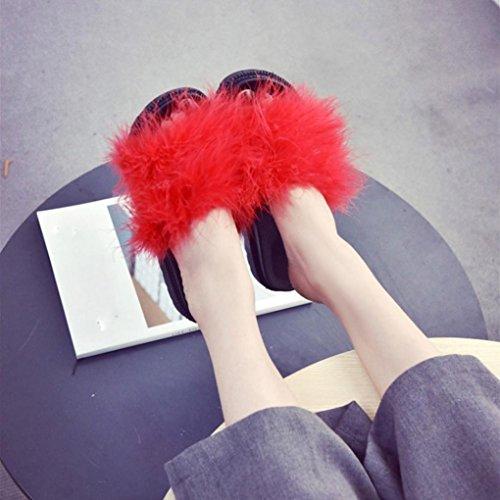OverDose Damen Slip on Sliders Flauschige Faser Flache Pantoffel Flip Flop Sandalen Slipper Red