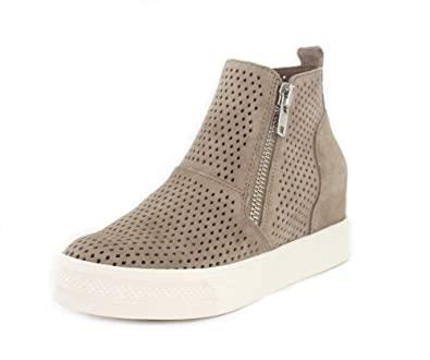 c0b217862d8c Steve Madden Womens Wedgie-P Wedge Taupe Suede Sneaker - 9.5