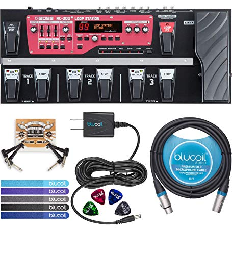 BOSS RC-300 Loop Station - 3 Channel Mixer Bundle with Blucoil 9V 670mA DC Power Supply, 10-Ft Balanced XLR Cable, 2-Pack of Pedal Patch Cables, 4-Pack of Guitar Picks and 5-Pack of Cable Ties