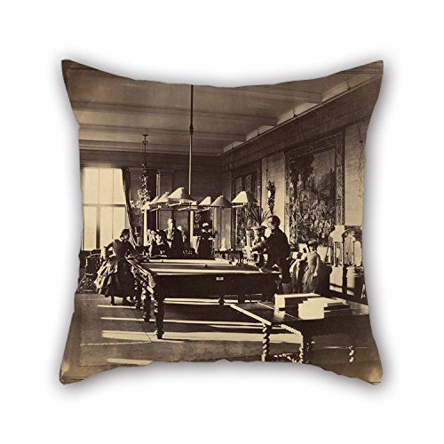 Artsdesigningshop Pillowcase of Oil Painting Roger Fenton (English - The Billiard Room, Mentmore for Play Room Teens Boys Bedroom Kitchen Relatives 18 X 18 Inches / 45 by 45 cm(2 Sides) ()