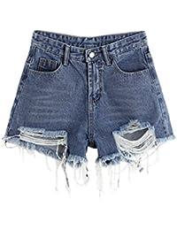 Women's Frayed Raw Hem Ripped Distressed Denim Shorts