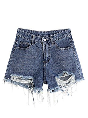 (MAKEMECHIC Women's Frayed Raw Hem Ripped Distressed Denim Shorts 7-Blue L)