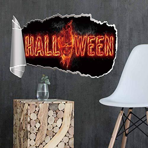 Fine Halloween Pumpkin 3D Broken Wall Sticker, Halloween Theme Party, Home, Cafe, Halloween Theme Hotel, Amusement Park Decoration, Vinyl Removable Decal Home Decor (C) (Best Wallpaper For Dining Room)