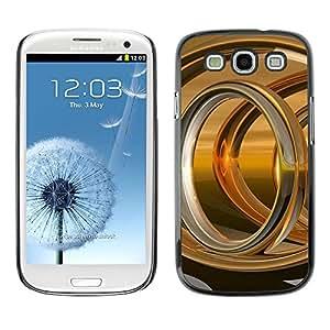 TopCaseStore / la caja del caucho duro de la cubierta de protección de la piel - Abstract Gold Ring - Samsung Galaxy S3 I9300