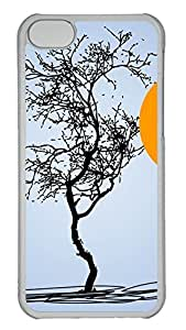 iPhone 5c Case - Unique Cool Simple Hand Painted Halloween Moon Bats Trees Hard Clear Mobile Phone Protecting Shell