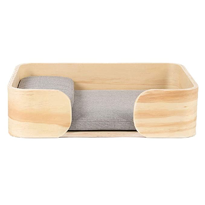 Mochila Caja de madera de la cama del gato Cama de la mascota del perro de la litera del gato de la cama pequeña - color de madera / 50x36x13cm Camas: ...