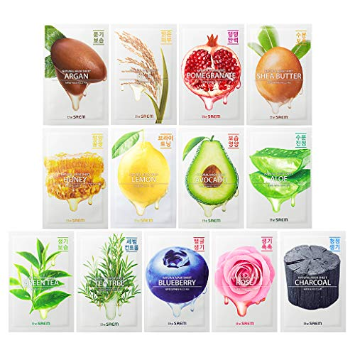 [the SAEM] Natural Facial Mask Sheet 21ml Combo Set (13 Pack) - Korean Daily Skin Care Variety Pack, Moisturizing, Brightening, Soothing, Firming Care