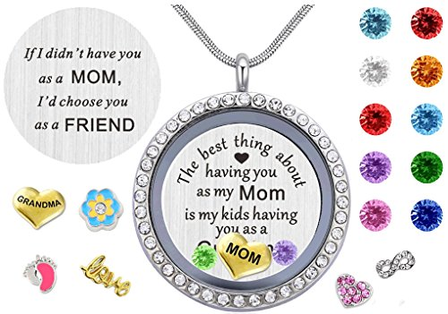 Locket Mom Best (BEFFY Best Gifts for Mother Mom Grandma Mammy Mum,30mm Round Living Memory Floating Charm Locket Pendant Necklace with Birthstones & Charms)