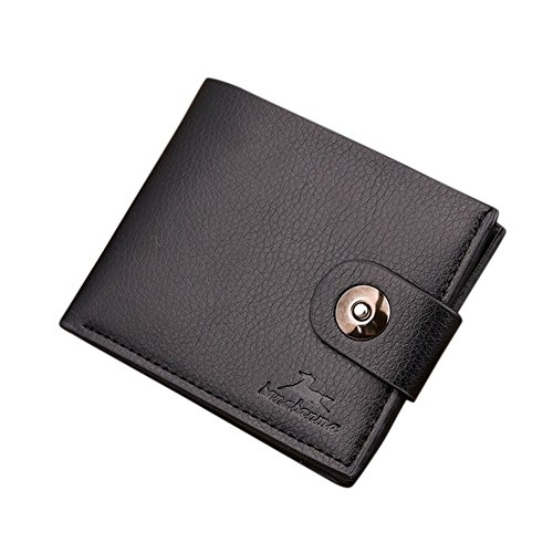 Men Xams Gift Classical Style Wearable PU Leather Multi Position Wallet Purse with Snap Button