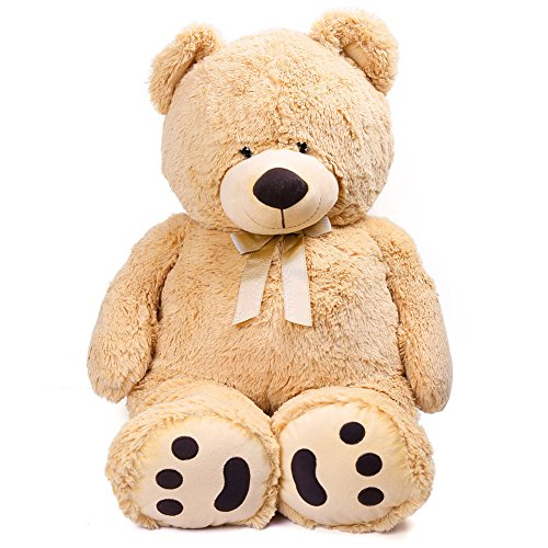 LotFancy Big Teddy Bear, Cute Soft Large Stuffed Animal Plush Toy, Birthday Gifts Kids, Beige, 3.3 Feet(39 inches)