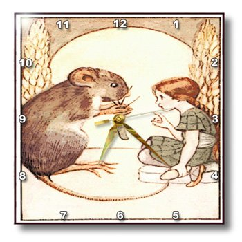 3dRose dpp_163141_1 Image of Giant Mouse and Little Girl From Nursery Rhyme Thumbelina Wall Clock, 10 by 10-Inch