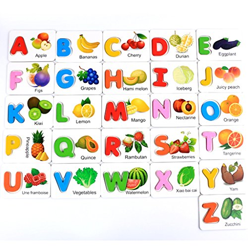 MagiDeal Multi-Colored Wooden Alphabet Letters Toy Set, with Fruit Patterns Card, For Kids Early Education Pack of 26 from Unknown