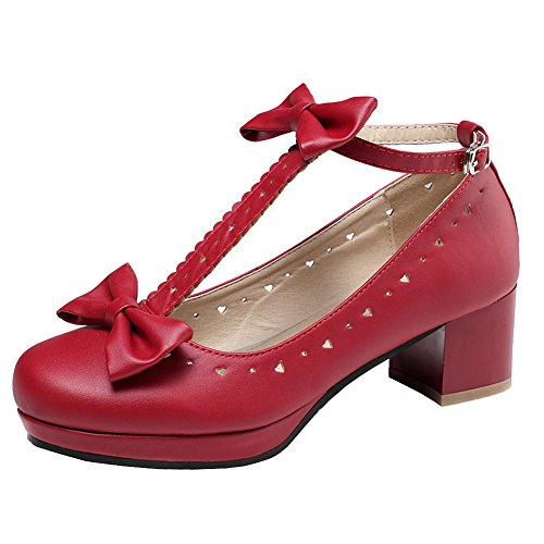- getmorebeauty Women Lolita Shoes Vintage Red Block Heel T-Straps Bows Mary Janes, 9 B(M) US