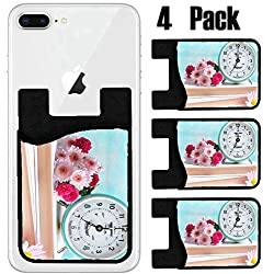 MSD Phone Card holder, sleeve/wallet for iPhone Samsung Android and all smartphones with removable microfiber screen cleaner Silicone card Caddy(4 Pack) Beautiful flowers with clock and book on table