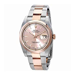 Rolex Datejust Pink Dial Stainless Steel and 18ct Everose Gold Automatic Mens Watch 116201PSO