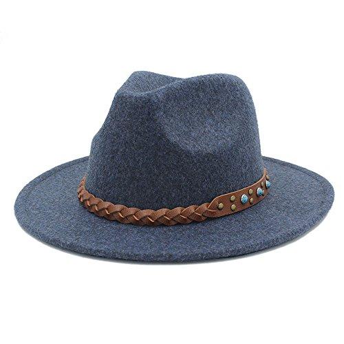 Douhuayu Unisex Chapeu Feminino Fedora Hat Woolen Wide Brim Jazz Church Cap Panama Top (Color : 4, Size : 57-58CM) by Douhuayu