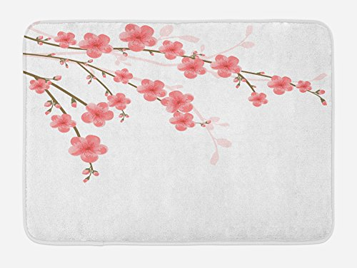 Ambesonne Floral Bath Mat, Cherry Blossom April Springtime Romantic Feminine Illustration Artwork Soft Colors, Plush Bathroom Decor Mat with Non Slip Backing, 29.5