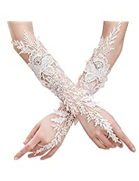 Lace Fingerless Child Long Formal Gloves, Wedding Flower Girl's Gloves (Age 6-15)