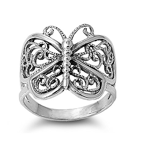 CloseoutWarehouse Sterling Silver Victorian Filigree Butterfly Ring Size 5 ()