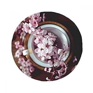 Rosa Plum Blossom Jarrón antideslizante alfombrilla para mascota redonda baño sala cocina puerta 80 cm regalo