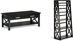 Simpli Home Kitchener Coffee Table, Dark Walnut Brown + Simpli Home Kitchener Ladder Shelf, Dark Walnut Brown :Bundle