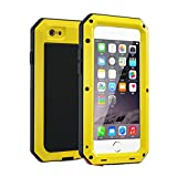 "R&MAO-iPhone 6/6s plus 5.5 Inch Aluminum Case,[Heavy Duty]Extreme Shockproof Dust/Dirt/Snow Proof Military Aluminum Metal Gorilla Glass Protection Cover Case for iPhone 6/6S plsus 5.5""(Yellow)"