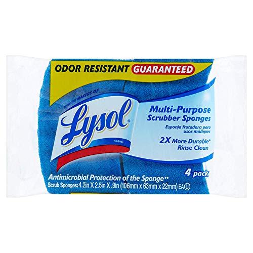 Heavy Duty Scrubber Sponge - Lysol Multi Purpose Odor Resistant Guaranteed Scrubber Sponges, 4pk