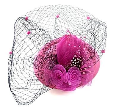 Fascinator Womens Pillbox Hat British Bowler Hat Flower Veil Wedding Hat Tea Party Hat