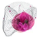 Fascinator Womens Pillbox Hat British Bowler Hat Flower Veil Wedding Hat Tea Party Hat