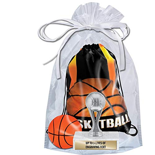 Crown Awards Basketball Goodie Bags, Basketball Favors for Basketball Themed Party Supplies Comes with Personalized Silver Kids Basketball Trophy, Squishball and Basketball Drawstring 20 Pack Prime by Crown Awards (Image #1)