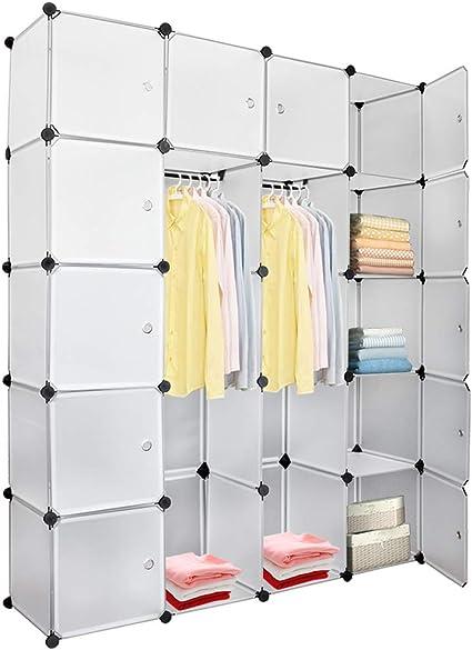 DIY Regalsystem Kleiderschrank Kunststoff Steckregal Garderobe Garderobenschrank
