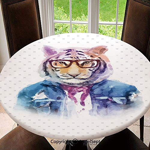 - Polyester Fabric Elastic Edged Tablecloth,Intellectual Tiger with Scarf Torn Denim Jacket and Glasses Watercolor Artwork Decorative Soil Resistant Holiday Tablecloth, 47 Inch Round,Multicolor